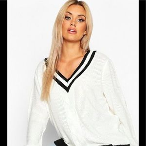 Boohoo Contrast Oversized Sweater Black and White